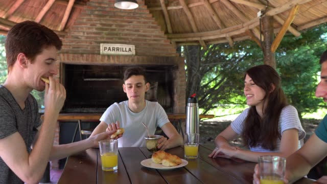 people having a break in the countryside together drinking juices - brunch stock videos & royalty-free footage