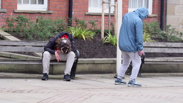 people high on the synthetic drug 'spice' in wrexham, wales - spice stock videos & royalty-free footage