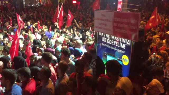people hold banners and placards written in english in front of turkish president recep tayyip erdogan's residence in kisikli and taksim square as... - staatsstreich stock-videos und b-roll-filmmaterial