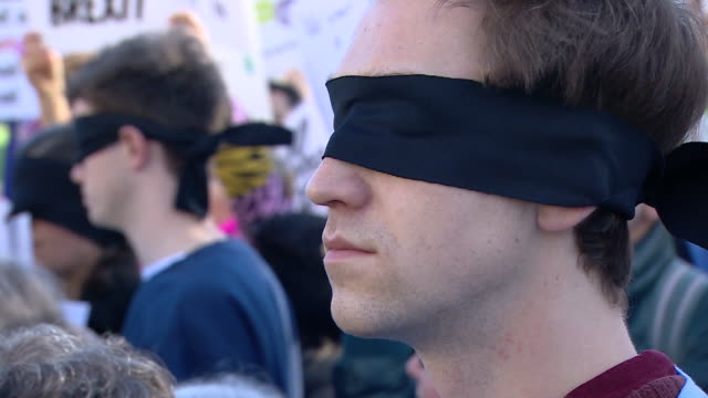 People holding a 'No Blindfold Brexit' protest in Westminster