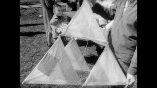 people holding home made kites mill about the national mall at the first annual smithsonian kite carnival / array of kites all shapes and sizes / men... - boys beware点の映像素材/bロール
