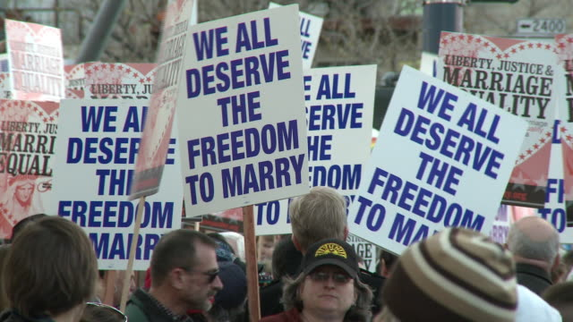 People holding placards at a rally in support of samesex marriage/ San Francisco California USA/ AUDIO