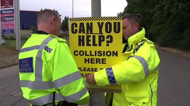 17 people hurt in crash at gathering of car enthusiasts in stevenage england hertfordshire stevenage ext close shot of yellow police markings on road... - yellow stock videos & royalty-free footage