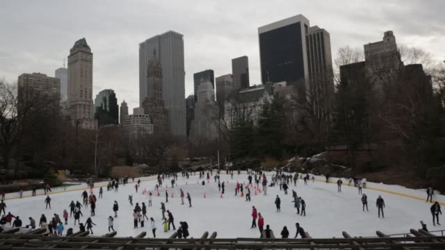 people ice skate at the trump skating rink in central park at night on february 2, 2014 during the day, wide shots of people ice skating on a cloudy... - ice skating stock videos & royalty-free footage