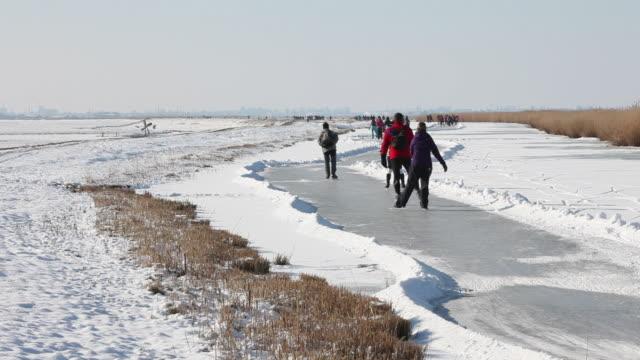 people ice skating in polder, jisp, netherlands - polder stock videos and b-roll footage