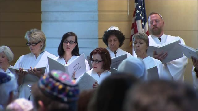 people in a synagogue for rosh hashanah service on september 05 2013 in los angeles california - religious service stock videos and b-roll footage