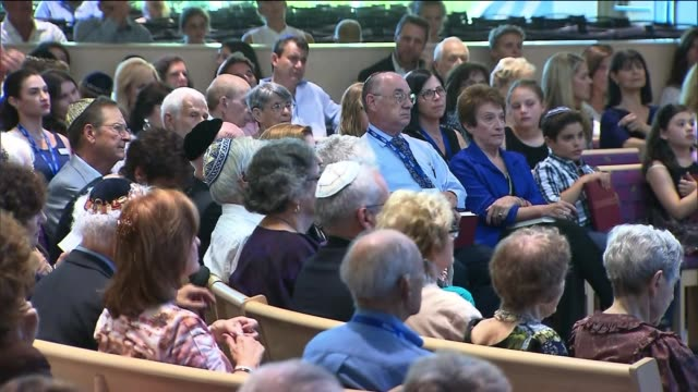 people in a synagogue for rosh hashanah service on september 05 2013 in los angeles california - religious service stock videos & royalty-free footage
