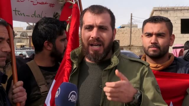 People in Azaz district take part in support convoy for 'Operation Olive Branch' launched in Syria's Afrin by Turkish Armed Forces and Free Syrian...