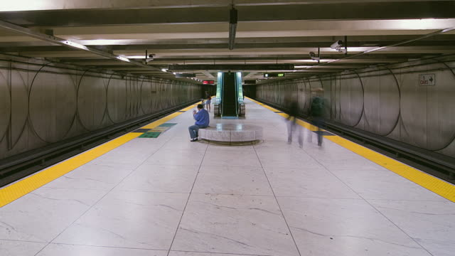 T/L WS People in Bay Area Rapid Transit station, San Francisco, California, USA