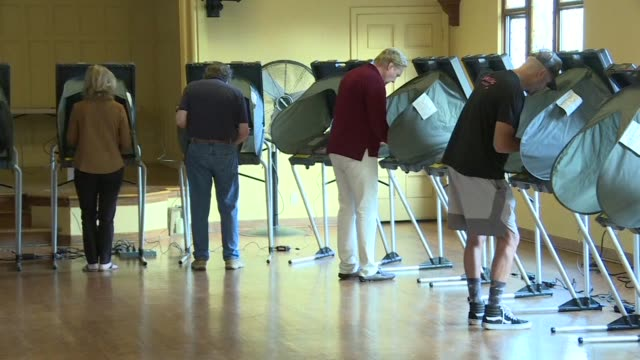 stockvideo's en b-roll-footage met people in california start voting in critical midterm elections that mark the first major voter test of donald trump's controversial presidency with... - tussentijdse verkiezing