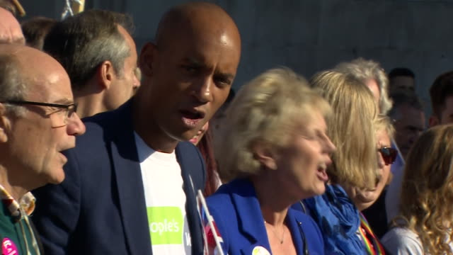 people in central london including chuka umunna and anna soubry marching in favour of a people's vote on the final brexit deal - referendum stock-videos und b-roll-filmmaterial