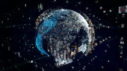 People in digital hitech globe.