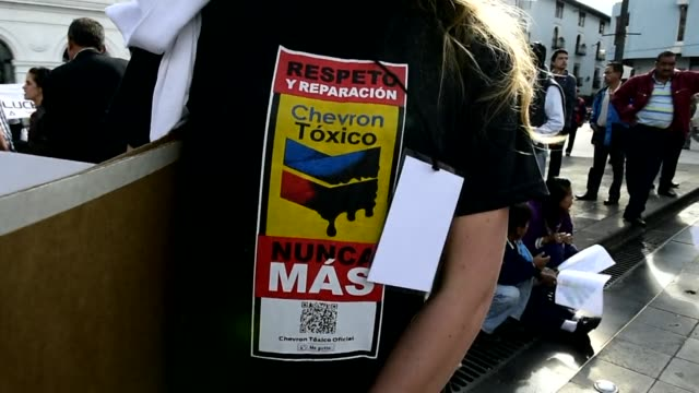 People in Ecuador take part in International anti Chevron Day to protest against US multinational energy corporation Chevron