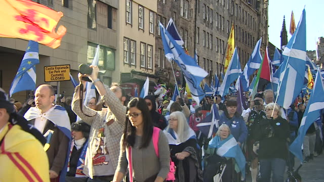 people in edinburgh marching in favour of a second scottish independence referendum - number 2 stock videos & royalty-free footage