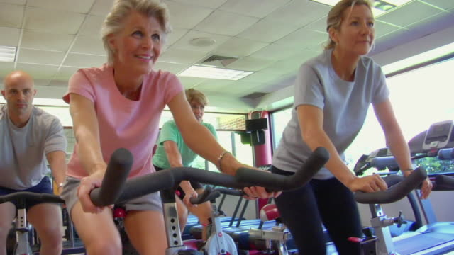ms people in fitness club exercise class/ san antonio, texas - cardiovascular exercise stock videos & royalty-free footage