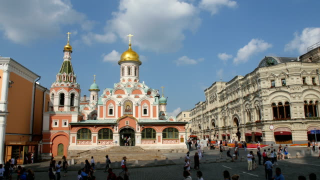 people in front of kazan cathedral at the red square/ moscow, russia - red square stock videos & royalty-free footage
