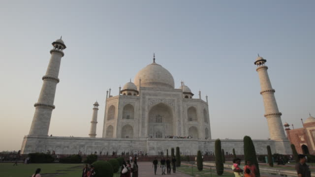 ws la ld people in front of taj mahal / agra, india - agra stock videos and b-roll footage
