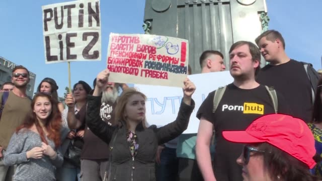 people in moscow protest proposed pension reform - pension stock videos & royalty-free footage