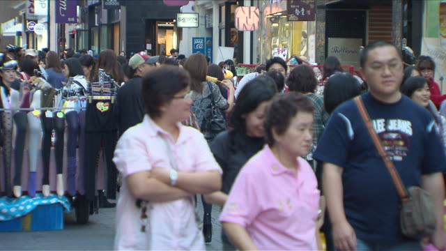 ms t/l people in myeongdong shopping area / seoul, south korea  - spending money stock videos & royalty-free footage