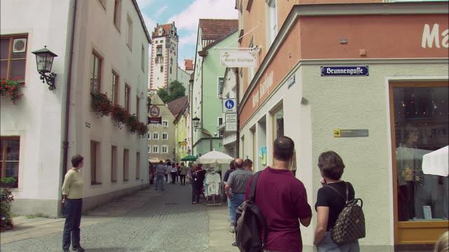 WS PAN People in old part of Fussen, Bavaria, Germany