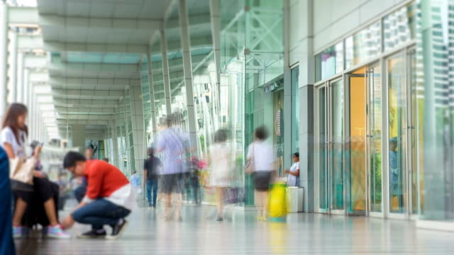 people in shopping corridor, time lapse - trade show stock videos and b-roll footage