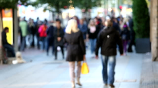 people in shopping street - pedestrian zone stock videos & royalty-free footage