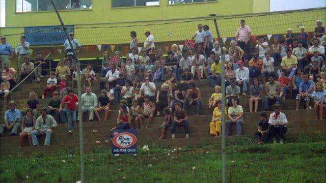 WS People in stadium watching car racing at Danville speedway / Georgia, USA