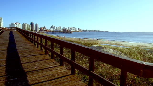 people in the beach in punta del este, sunset in summer, uruguay - sedative stock videos & royalty-free footage