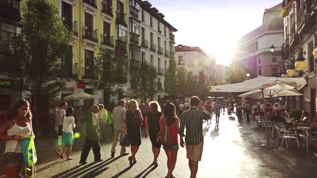 people in the city center of madrid - europe stock videos & royalty-free footage