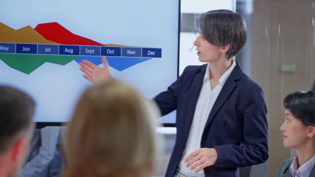 vídeos de stock e filmes b-roll de people in the conference room listening to a presentation held by their female colleague - inclinação para cima