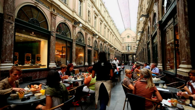 people in the galeries royales saint-hubert in brussels - brussels capital region stock videos & royalty-free footage