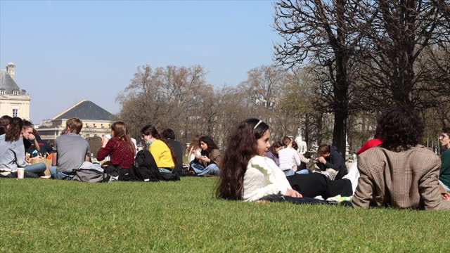 people in the luxembourg garden on the first day of spring - bare tree stock videos & royalty-free footage