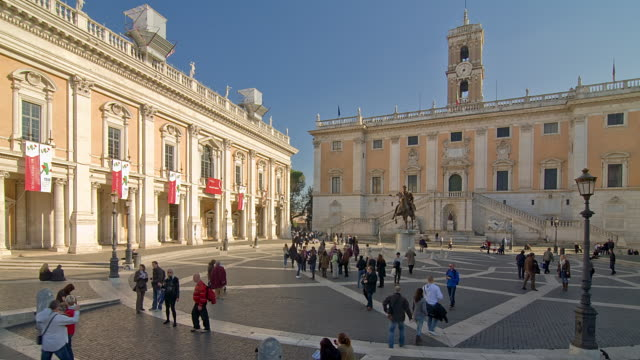 t/l people in the piazza campidoglio / rome, italy - animal representation stock videos & royalty-free footage