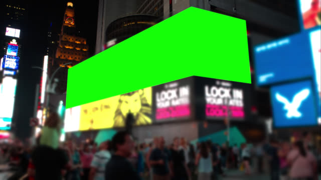 people in time square new york city green screeen - billboard stock videos & royalty-free footage