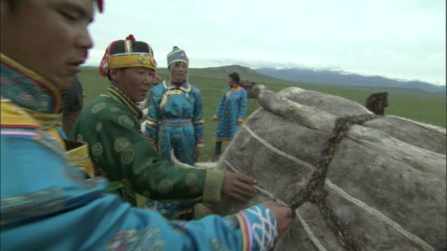people in traditional clothes unload felt bundles from cattle, bayanbulak grasslands, - agricultural cooperative stock videos and b-roll footage