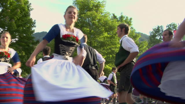 ms people in traditional clothing dancing at tegernsee folk festival, tegernsee, bavaria, germany - traditional clothing stock videos & royalty-free footage