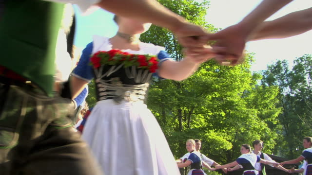 ms la people in traditional clothing dancing at tegernsee folk festival, tegernsee, bavaria, germany - traditional dancing stock videos and b-roll footage