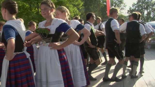 ms people in traditional clothing dancing at tegernsee folk festival, tegernsee, bavaria, germany - traditional dancing stock videos and b-roll footage