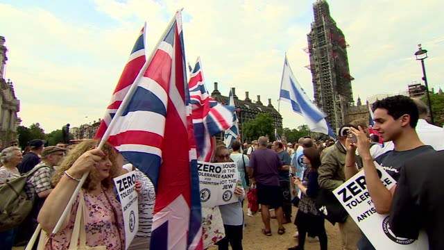 People in Westminster protesting over alleged antisemitism in the Labour Party