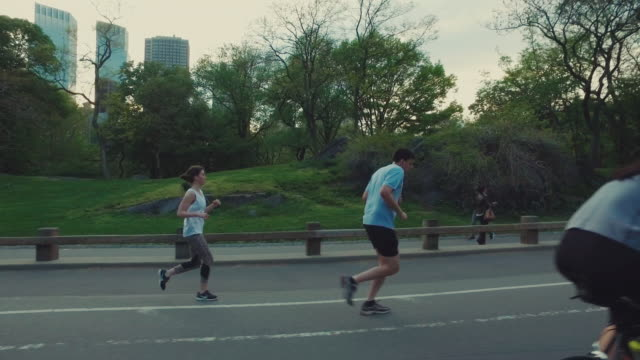 People jogging and cicying in Central Park, New York City