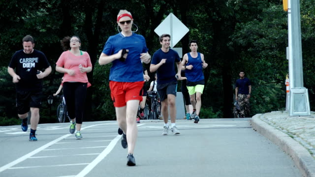 people jogging in central park, manhattan, new york city - central park manhattan video stock e b–roll