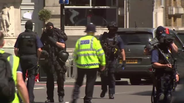 people killed in barcelona and cambrils vehicle attacks; 4.6.2017 london: armed police officers along street - aftermath of london bridge attack/... - cambrils stock videos & royalty-free footage