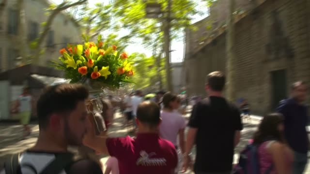 people killed in barcelona and cambrils vehicle attacks; barcelona: man carrying large bunch of flowers along las ramblas various of crowds of people... - cambrils stock videos & royalty-free footage