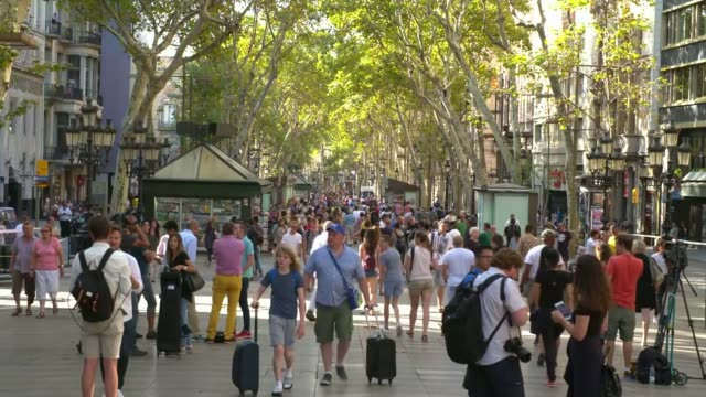 people killed in barcelona and cambrils vehicle attacks; barcelona: flowers left close to the scene of the van attack on las ramblas that killed 13... - cambrils stock videos & royalty-free footage