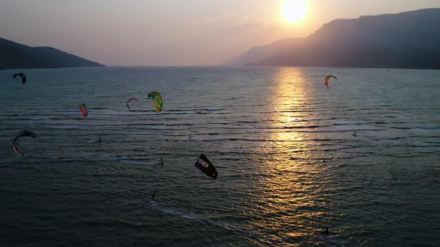 people kitesurfing in the sun - marmaris stock videos & royalty-free footage