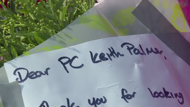 people lay flowers on parliament square in tribute to the four people who died when khalid masood a 52yearold briton ploughed through dozens of... - knife weapon stock videos and b-roll footage