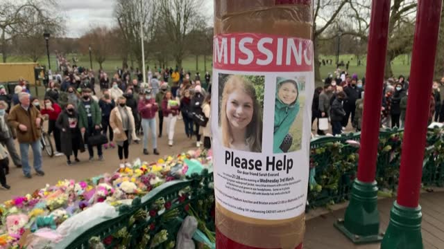 people lay flowers to pay homage to sarah everard at clapham common's bandstand in london, the day after officers scuffled with members of the... - candlelight stock videos & royalty-free footage