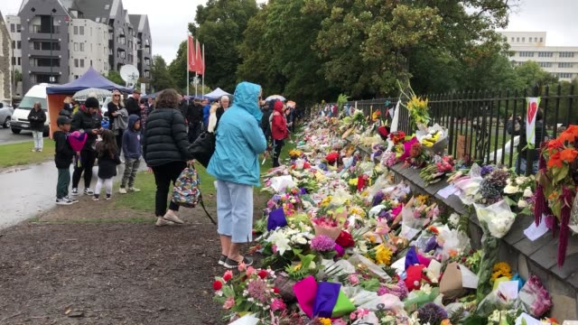 people leave messages and flowers for the victims of the christchurch mosque attacks outside the botanic gardens on march 17 2019 in christchurch new... - christchurch stock-videos und b-roll-filmmaterial