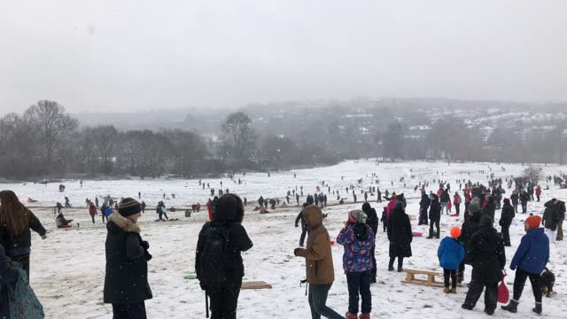 people leave stay at home orders to take in the white covered views and go for a sleigh ride during the national lockdown in hampstead heath on... - land stock videos & royalty-free footage