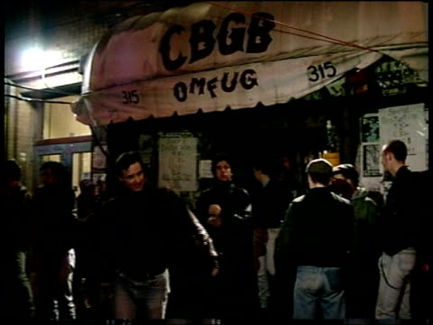 people leaving cbgbs and exterior - punk music stock videos & royalty-free footage
